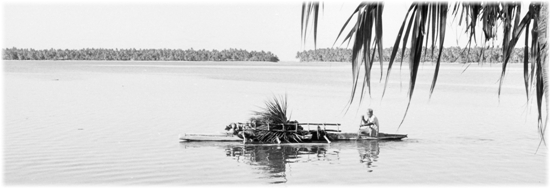 B&W Canoe on lagoon, 1974